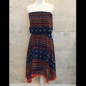 Anthro Maeve Urcos Handkerchief Strapless Dress